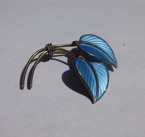 Hans Myhre Sterling silver gilt blue enamel double leaf brooch