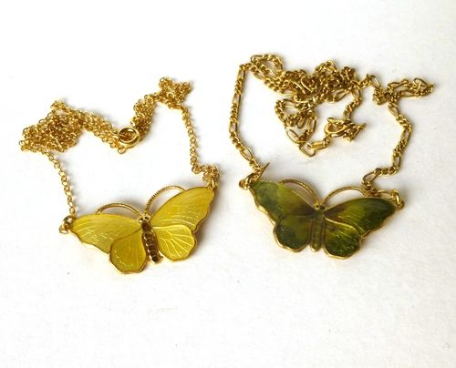 Opro Sterling enamel butterfly necklace, yellow or green