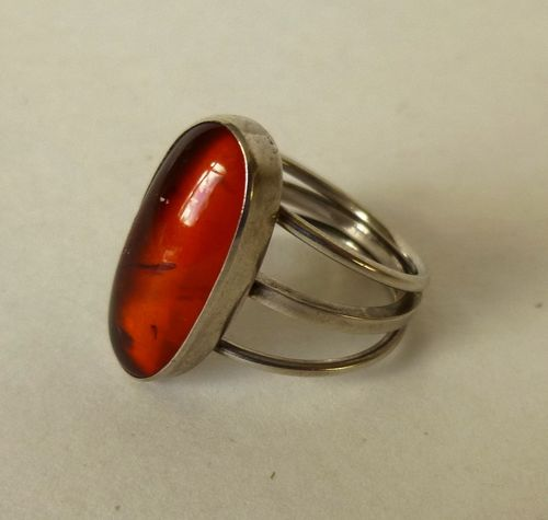 Ib Mygind Fischland silver amber ring, size L