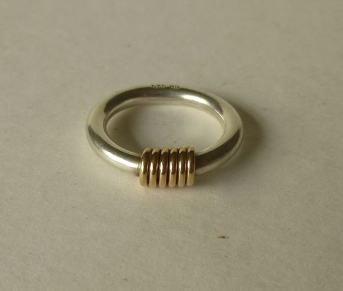 Bernhard Hertz Sterling silver ring with gold coil