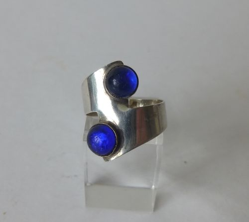 C.O Frydensberg silver ring with blue semi spheres, size N-O