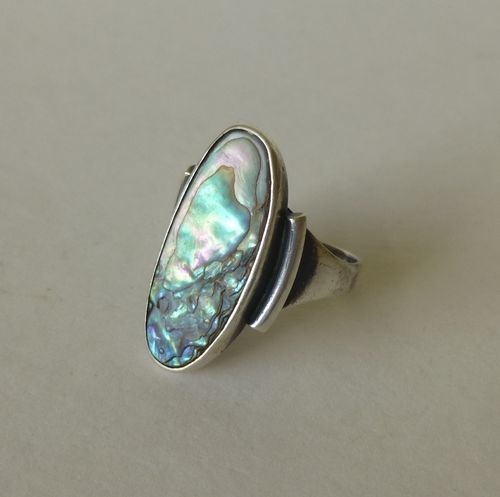 Chr. Veilskov Sterling silver abalone ring, size P