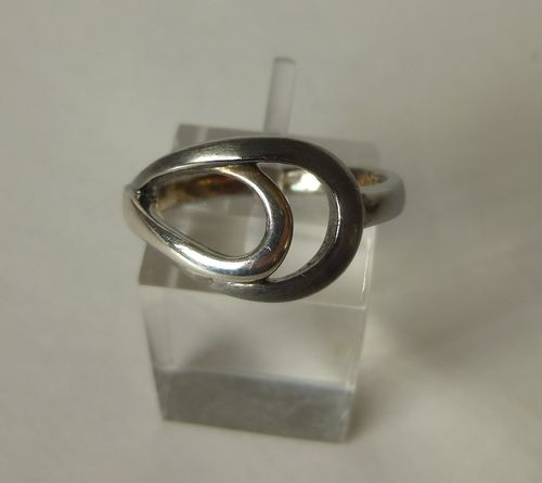 Scrouples partially oxidised Sterling silver ring, size P