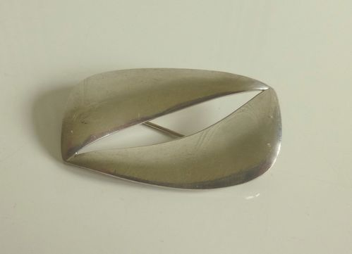 Amos Slor Sterling silver freeform brooch