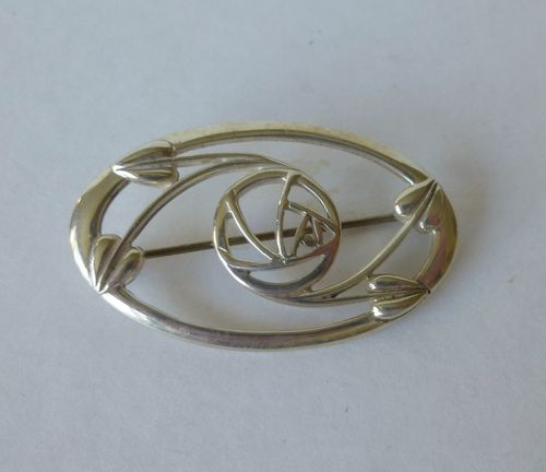 Carrick Mackintosh-style oval  silver brooch
