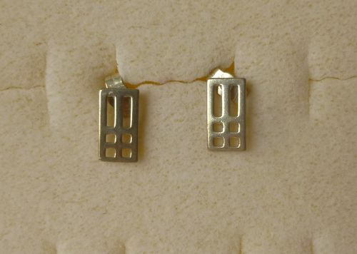 Carrick Mackintosh-style Sterling silver grid ear studs