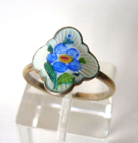 David-Andersen blue enamel flower ring, N