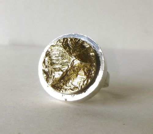 Siersbøl silver-gilt nugget ring, adjustable