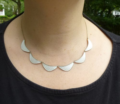 Norway white enamel necklace