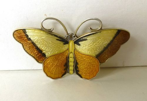 Hroar Prydz Sterling yellow/brown enamel butterfly