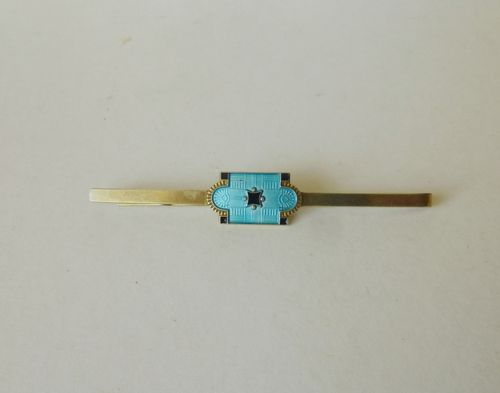 Myhre blue enamel decorated hair or tie grip