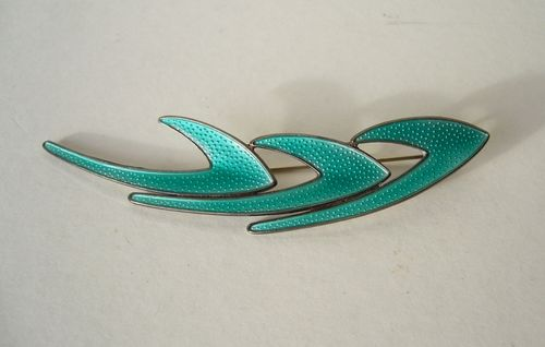 K A Rasmussen apple green enamel boomerang brooch