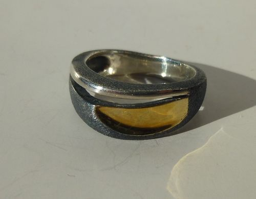 Aagaard Sterling tricolour ring,  size O /7.25