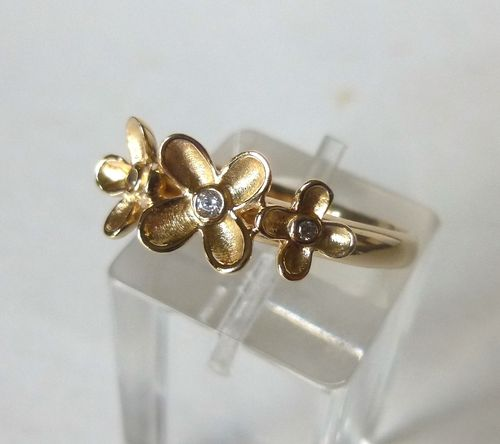 Aagaard Sterling gilt flowers ring, R