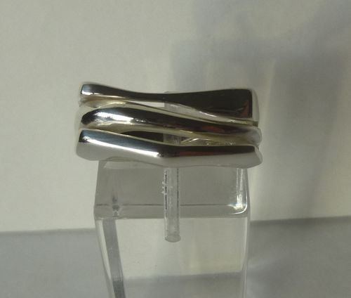 Aagaard 3 band Sterling ring, size R / 8.75