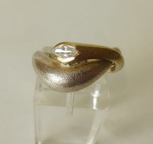 Aagaard silver/gold ring with crystal, P-Q
