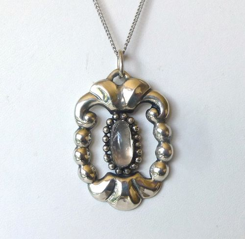 F Matzen antique silver moonstone pendant