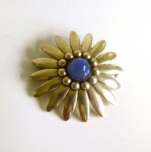 Brdr. Bjerring silver-gilt daisy brooch with central moonstone