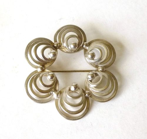 H.O.Jacobsen large Sterling silver circles brooch