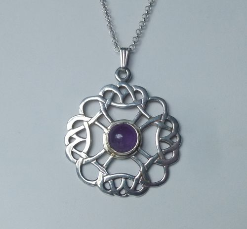 Ortak Sterling amethyst pendant on chain