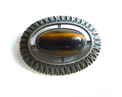 835 silver modernist tiger eye brooch