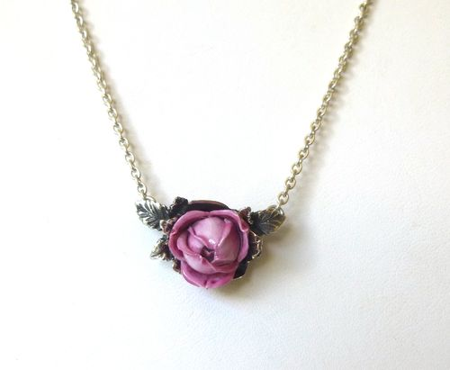 Georg Jensen porcelain rose pendant/necklace