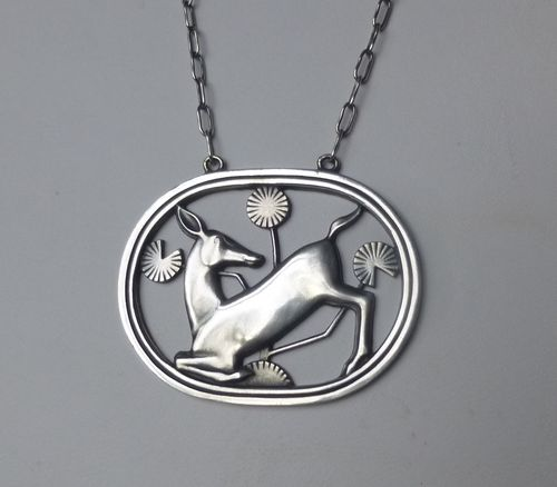 Georg Jensen Malinowski kneeling deer necklace no.95