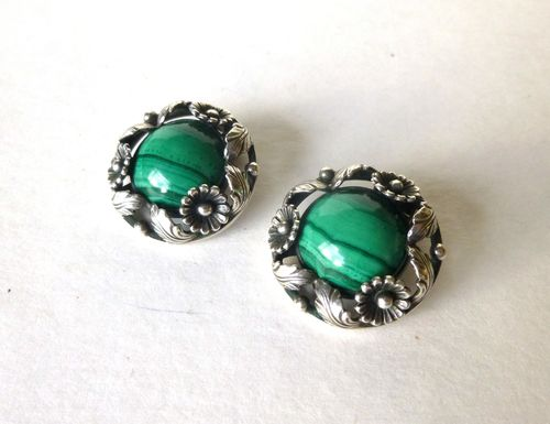 N.E.From Sterling silver malachite ear clips
