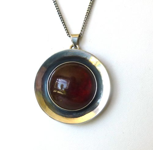 N.E.From Sterling silver amber pendant + chain