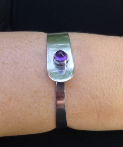 Finland Sterling bangle with domed amethyst