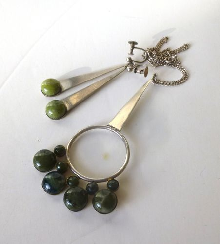 Irish Sterling long nephrite pendant and earrings (convertible)