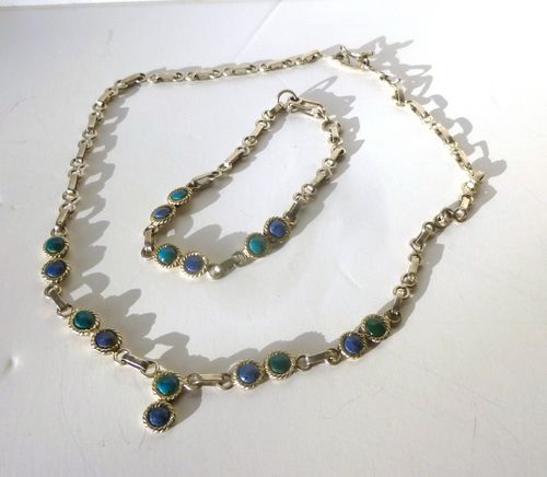 Silver blue & green necklace and bracelet