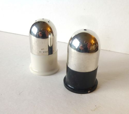 Cohr silver and bakelite Deco salt and pepper shakers